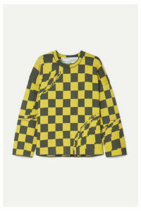 Off-White - Oversized Checked Knitted Sweater - Yellow