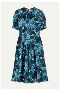 Altuzarra - Adeline Floral-print Stretch-silk Satin Midi Dress - Blue