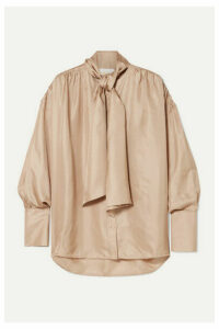 REMAIN Birger Christensen - Halyn Pussy-bow Silk-satin Blouse - Beige
