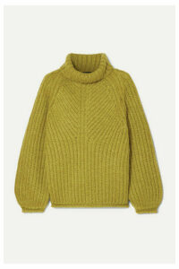Stine Goya - Nicholas Ribbed Mohair-blend Turtleneck Sweater - Lime green