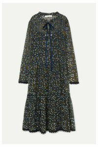 See By Chloé - Lace-trimmed Flocked Floral-print Silk-chiffon Midi Dress - Blue