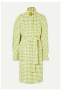 Stine Goya - Celeste Houndstooth Wool-blend Coat - Lime green