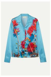 Dries Van Noten - Copine Floral-print Silk-satin Shirt - Light blue