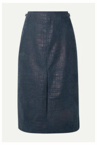 Gabriela Hearst - Morelos Croc-effect Leather Skirt - Storm blue