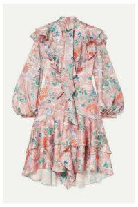 Peter Pilotto - Ruffled Floral-print Hammered Silk-blend Dress - Pink