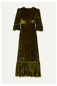 The Vampire's Wife - Festival Ruffled Tiered Velvet Maxi Dress - Green