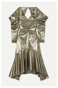 REJINA PYO - Camille Cutout Ruched Lamé Midi Dress - Silver