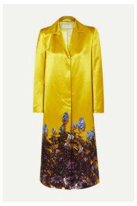 Dries Van Noten - Rye Floral-print Cotton-blend Satin Coat - Yellow