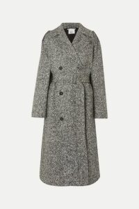 Stella McCartney - Oversized Double-breasted Belted Mélange Wool-tweed Coat - Black