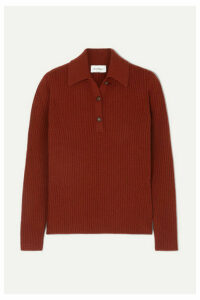 Salvatore Ferragamo - Button-detailed Ribbed Wool And Cashmere-blend Sweater - Burgundy