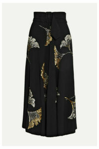 Dries Van Noten - Simiana Belted Sequin-embellished Crepe Midi Skirt - Black