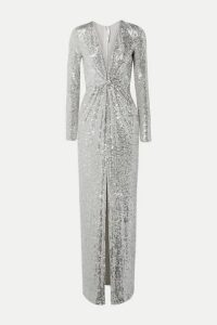 Naeem Khan - Sequined Tulle Gown - Silver