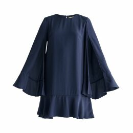 PAISIE - Cape Sleeve Swing Dress With Peplum Hem In Navy