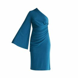 PAISIE - Draped One Shoulder Dress With Ruched Waist & Side Split In Turquoise