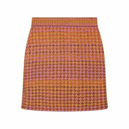 STUDIO MYR - Knitted Knee Length Pencil Skirt In Pieds-De-Poule Pattern Tweed-Heather