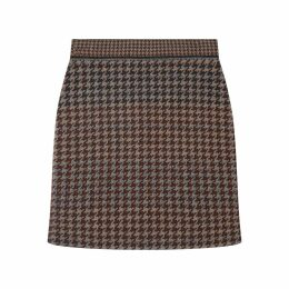 STUDIO MYR - Knitted Knee Length Pencil Skirt In Pieds-De-Poule Pattern Tweed-Raven