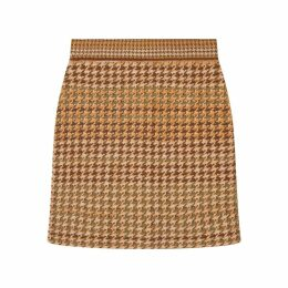 STUDIO MYR - Knitted Knee Length Pencil Skirt In Pieds-De-Poule Pattern Tweed-Moss