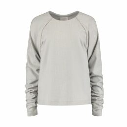 blonde gone rogue - Herringbone Gathered Sleeves Blouse In Grey