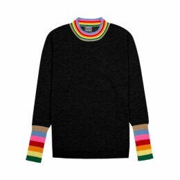 Orwell + Austen Cashmere - Rainbow Trim Sweater In Black