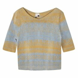 STUDIO MYR - One-Of-A-Kind Three-Quarter Sleeve Knitted Cotton Jumper Denim Golden Blue