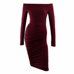 Me & Thee - Carte Blanche Red Wine Bardot Dress