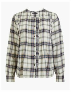 M&S Collection Cotton Rich Pintuck Checked Pioneer Blouse