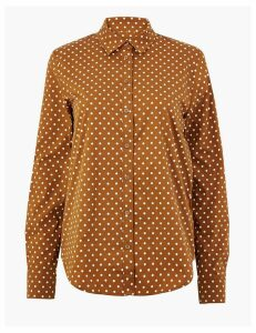 M&S Collection Cotton Rich Polka Dot Slim Fit Shirt