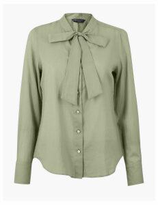 M&S Collection Pure Cotton Tie Neck Shirt