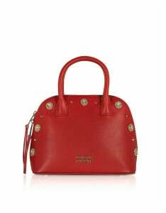 Versace Jeans Couture Designer Handbags, Nappa Fiore Top Handle Bag w/ Studs