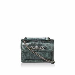 Kurt Geiger London Croc Sm Chelsea Bag - Croc Print Mini Shoulder Bag With Eagle Embellished Chain Detail