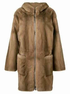 Liska zip front mink coat - Brown