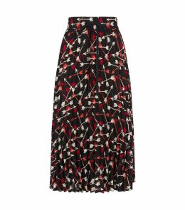 Arrow Print Pleated Midi Skirt