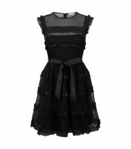 Tulle Sequin-Stripe Mini Dress