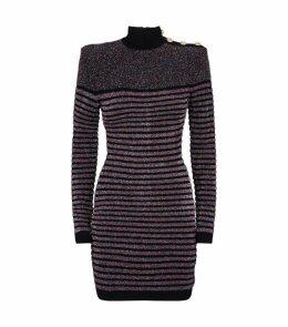 High Neck Glitter Stripe Dress