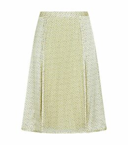 TB Monogram Print Side Pleated Skirt