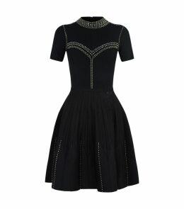 Stud-Embellished Knit Dress