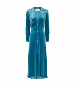 Button-Up Velvet Dress