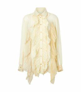 Ruffle Oversized Silk Blouse