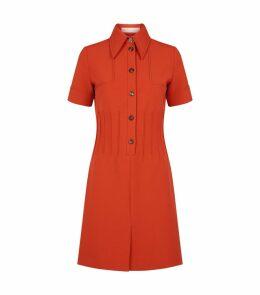 Buttoned Pintuck Dress