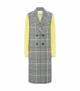 Knit Sleeve Check Coat