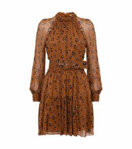 Silk Leopard Print Mini Dress