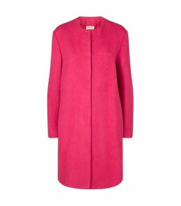 Collarless Alpaca-Wool Coat