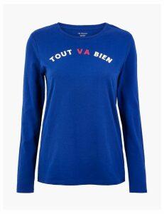 M&S Collection Pure Cotton Tout Va Bien Straight Fit T-Shirt