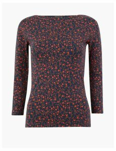 M&S Collection Cotton Rich Floral Print Fitted Top