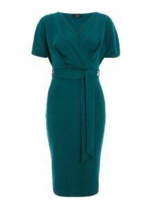 Womens *Quiz Green Batwing Sleeve Wrap Midi Dress- Green, Green
