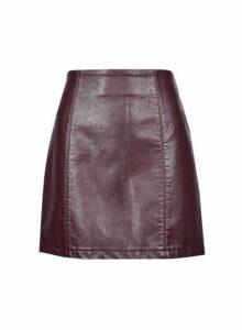 Womens Petite Berry Pu Mini Skirt- Purple, Purple
