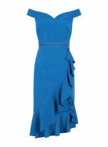 Womens **Little Mistress Blue Ruffle Bardot Dress- Blue, Blue
