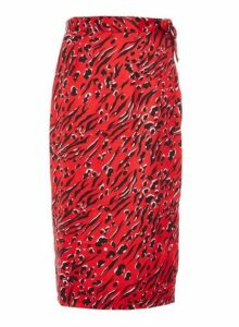 Womens *Quiz Red Satin Animal Print Wrap Skirt, Red