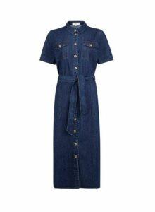 Womens **Tall Blue Denim Shirt Dress- Blue, Blue