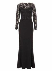 Womens *Quiz Black Sequin Long Sleeve Maxi Dress- Black, Black